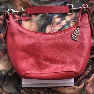 """Ralph Lauren """"Lauren"""" red leather zip handbag EUC"""